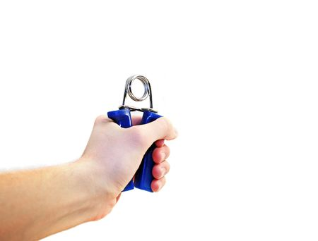 hand with blue plastic workout equipment for strengthening hands Stock Photo - 786207