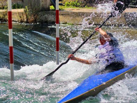 kayaker: kayaker manouvring in extreme whitewater Stock Photo