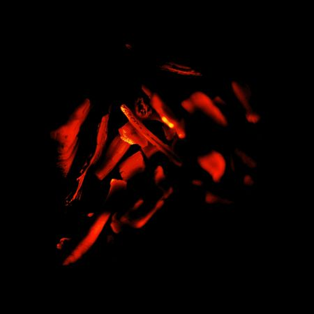 abstract fire remainings on black background photo