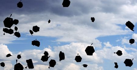 graduation - flying hats in the air photo