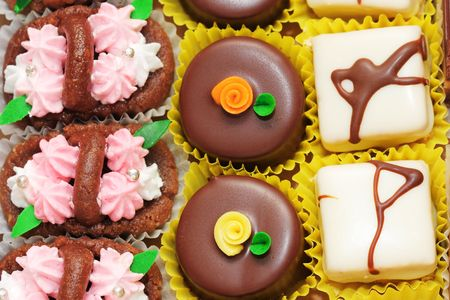 many different colorful chocolate cookies photo
