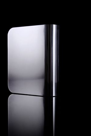 external hard drive, front side, with reflection Stock Photo