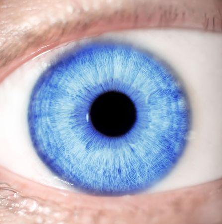 parpados: macro extrema foto de un hermoso azul de ojos  Foto de archivo
