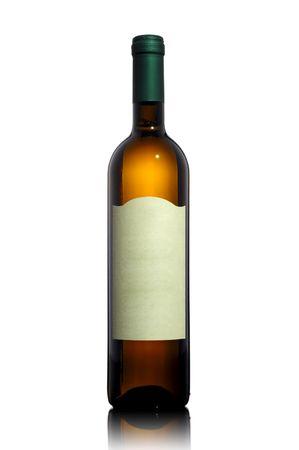 isolated white wine bottle on white background