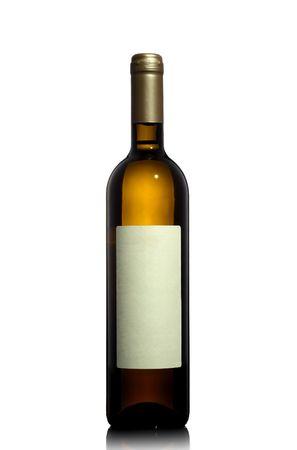white wine bottle: botella de vino blanco aislado en el fondo blanco Foto de archivo