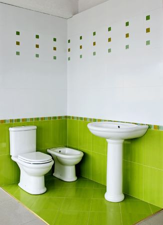 ceramic elements in a beautiful bathroom Banco de Imagens