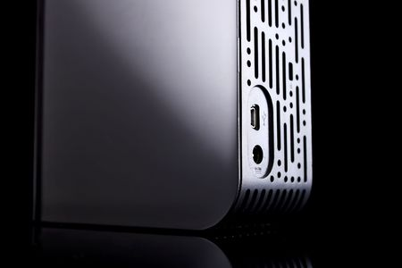 external hard drive, abstract shot of the back side Stock Photo