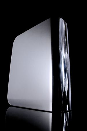 external hard drive, front side, with reflection