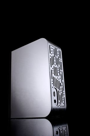 external hard drive, back side, with reflection