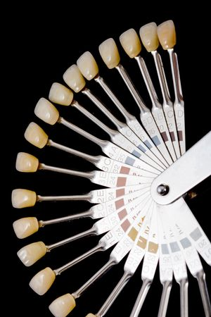 hand holding human teeth models, isolated on black
