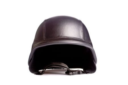 old style us army motorcycle helmet, on white photo
