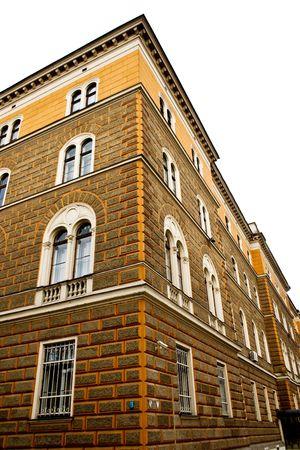 sarajevo: house with orange brick wall in Sarajevo, Bosnia and Hercegovina Stock Photo