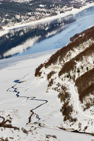 winter landscape - Mavrovo Lake, Macedonia - view from the ski center Zare Lazarevski