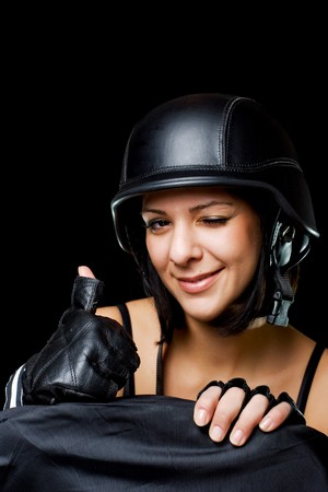 beautiful girl with US Army-style motorcycle helmet, thumbs up photo