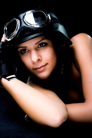 beautiful girl with US Army-style motorcycle helmet with goggles and gloves Stock Photo - 4259057