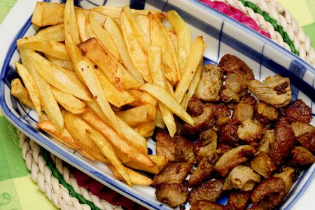 barbecue, meat and french fries photo