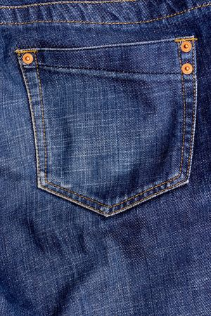 blue jeans pocket, abstract close up shot Stock Photo