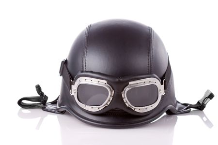 old-style us army motorcycle helmet with goggles photo