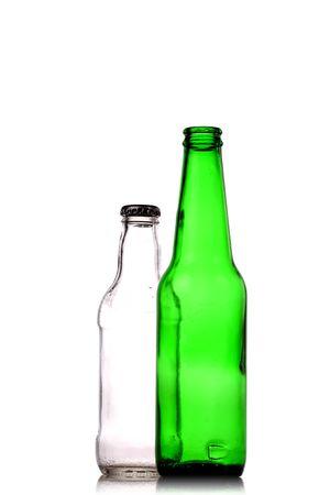 bottleneck: empty open green beer bottles isolated on white Stock Photo