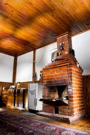 old house room with a chimney, hdr photo with multiple light sources photo