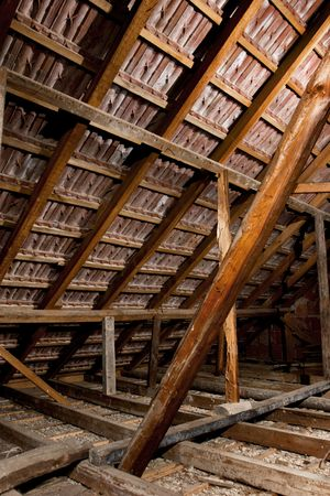strobist: old attic of a house, hdr photo with multiple light sources Stock Photo