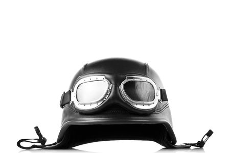 a helmet: old-style us army motorcycle helmet with goggles