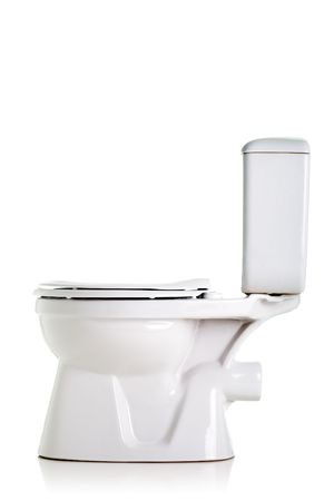 closed toilet, side view, isolated on white Stock Photo - 6329785
