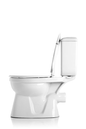 closed toilet, side view, isolated on white Stock Photo