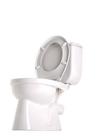 closed toilet, side view, isolated on white photo