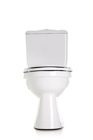 toilet bowl: closed toilet, front view, isolated on white