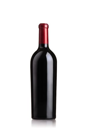 red wine bottle: isolated red wine bottle on white background