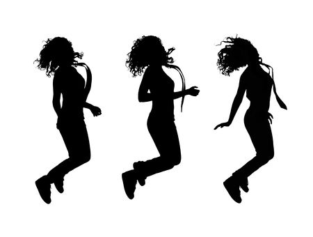 girl jumping silhouettes, isolations on white background Stock Photo - 6570564