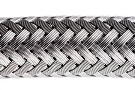 abstract metal water hose, high detail closeup