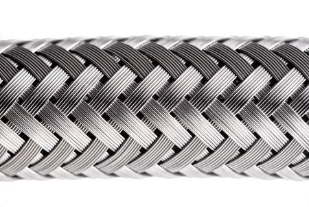 flexible: abstract metal water hose, high detail closeup