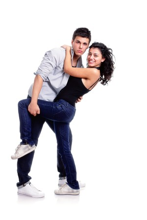 young couple dancing pose, isolated on white photo