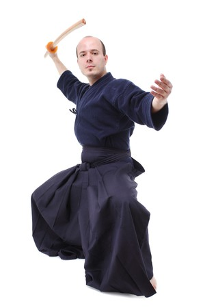 portrait of a kendo fighter with bokken
