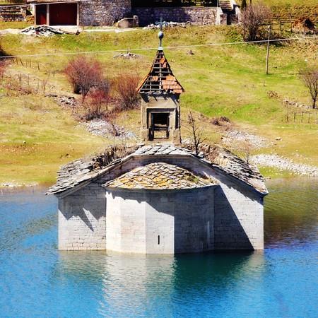 church underwater in the Mavrovo Lake, Macedonia Stock Photo