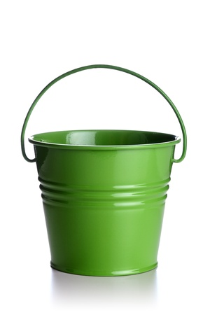 small green bucket isolated on white background