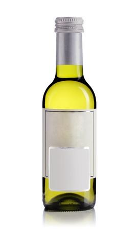 white wine bottle with empty label, isolated on white photo
