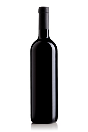 wine label design: isolated red wine bottle on white background