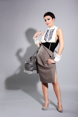 fashion girl with modern elegant corporate outfit photo