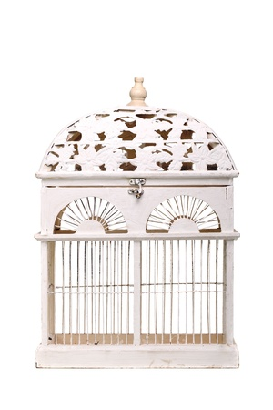 vintage bird cage isolated on white background photo