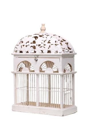 vintage bird cage isolated on white background Stock Photo