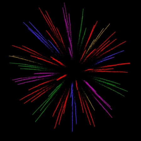 petard: photo of a fireworks, with additional colors added in post-editing