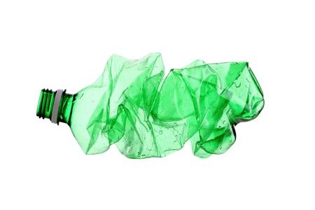 smashed empty water bottle, isolated on white background