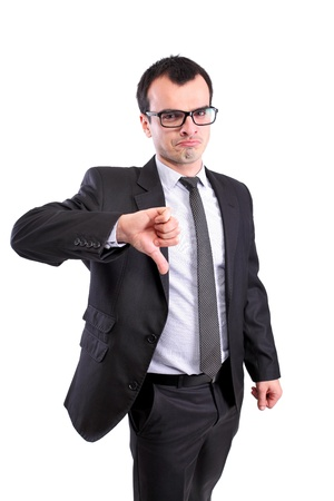 pessimist: negative business man showing thumbs down, against white Stock Photo