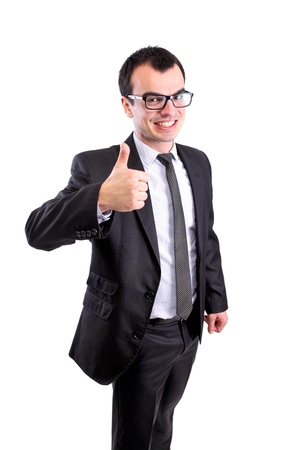 positive business man showing thumbs up, against white photo