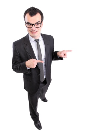 yound businessman pointing at something, isolated on white