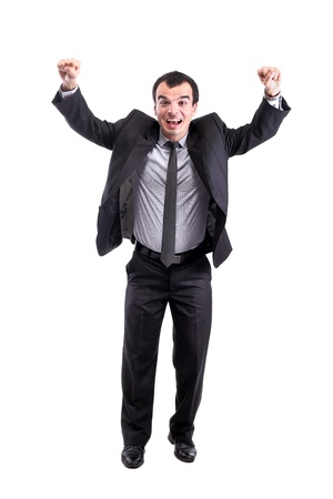 successful businessman hands up, isolated on white