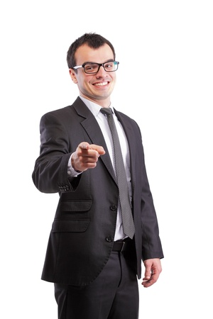 bussiness: yound businessman pointing at you, isolated on white